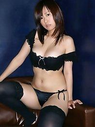 Hitomi Kitamura Asian with huge boobs is so erotic in stockings