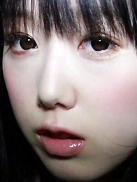 The more Rina rubbed her nipples the bigger her eyes became.
