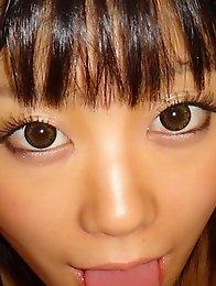 Beautiful and cute Japanese av idol Uta Kohaku gives blowjob with camera closeup