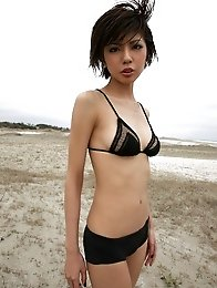 Short haired asian babe is to die for in skimpy black lingerie