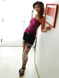 Sexy and slutty Japanese av idol Hinano Momosaki shows her naked slim body wearing funky clothes