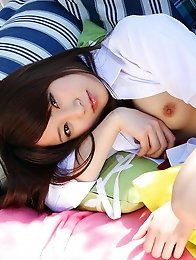 Sexy an beautiful japanese girl Mahiro Aino in school uniform